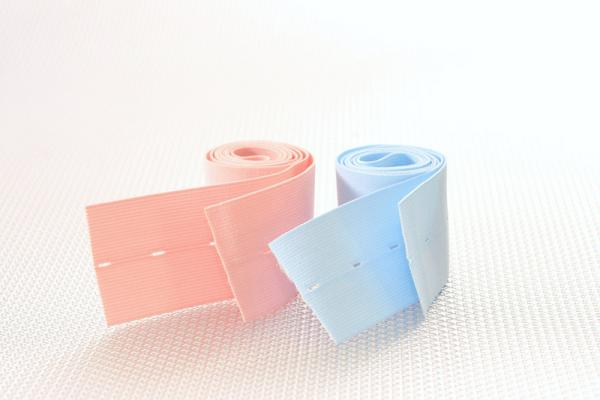 "2-3/8"" x 48"" Button Hole Style, 1 pink, 1 blue belt/pack"