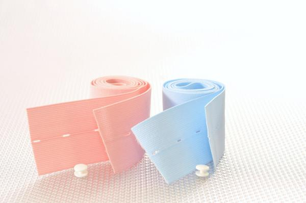 "2-3/8"" x 48"" Button Hole Style, 1 pink, 1 blue belt/pack, w/buttons"